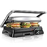 Aigostar XXL Kontaktgrill Panini Grill,Sandwich Maker,2000 Watt, antihaft beschichtetes Edelstahl,...