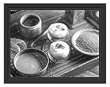 Picati schön dekorierter Matcha Tee Kunst im Schattenfugen Bilderrahmen   Format: 38x30  ...