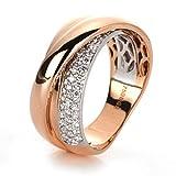 Pavé Ring aus 750 Rotgold/Weißgold Breite:7,2mm 46 Brillanten 0,35 ct W-si,...