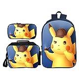 J & J Kinderrucksack 3D Pikachu Cartoon Druck Schultasche Rucksack Mit Schultasche + Brotdose +...