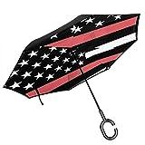 Großer, gerader, umgedrehter Regenschirm 2-lagiger, Faltbarer, winddichter UV-Schutz...