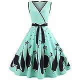 Frauen Katze gedruckt V-Ausschnitt ärmelloses Abendkleid Swing Retro-Kleid (A2_Grün,XL)