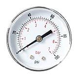 Shiwaki Manometer, Anschluß hinten Gewinde 1/8 BSPT Senkrecht Druckmesser für Druckminderer,...