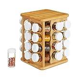 Relaxdays XXL Gewürzkarussell, drehbar, 32 Gewürzgläser, aromadichte Aufbewahrung, Gewürze...