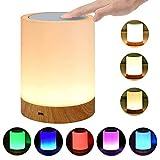 LED Nachttischlampe Akku Touch Sensor Tischlampe Kinder Nachtlicht aus Holz mit 256 RGB Farbwecksel,...