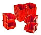 BigDean Sichtlagerboxen Set 28 Stück Rot Größe 3 19,5x12x9 cm - nestbar & stapelbar -...