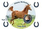 Tortenaufleger für Fototorte zum Geburtstag, mit Pferd,mit Ihrem Foto, Geburtstag, Fondant Ø 20cm...