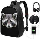 Schöner Raccoon Head Wasserdichter Laptop-Rucksack mit USB-Ladeanschluss, Kopfhöreranschluss,...