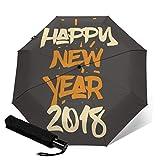 Automatischer Regenschirm Happy New Year 2018 Reise-Regenschirm, Vivid Sun Regenschirme, kleine...