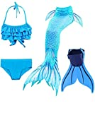 shepretty Meerjungfrauenschwanz zum Schwimmen für Kinder mit Meerjungfrau Flosse,DH53,140