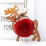 Pure Simple ökonomische 1 Stück Weihnachts-Elch Plüsch Ball Schlüsselanhänger Tasche Handtasche...