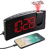Mpow Projektionswecker, Wecker Digital mit USB-Anschluss, Groe 5' LED Bildschirm, 4 einstellbare...