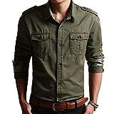 IsFashion Herren Militärhemd, langärmelig, Button-Down-Kleid Gr. Large, Armee-grün