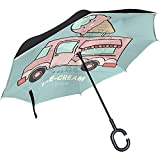 ETGeed Ice Cream Food Truck Design Umgekehrter Regenschirm ReverseUpside Down Umbrella