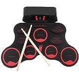 XUNMAIFFE Faltbar Drum Elektronisches Schlagzeug Kit 9 Pads, Roll Up Midi Tabletop E-Drum Schlagzeug...