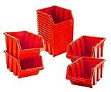 BigDean Sichtlagerboxen Set 16 Stück Rot Größe 4 23x16x12 cm - nestbar & stapelbar -...