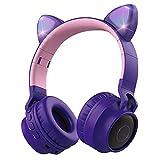 KeKeYM 4 In1 Lila Süße Katze Ohr über Ohr Drahtloser LED Stereo Kopfhörer, FM-Radio TF-Karte MP3...