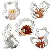 Iindes Ausstechformen Kaninchen, Eule, Fuchs, Igel und Eichhörnchen 5 Stück Tiere Ausstecher Set...