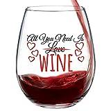 Witziges Weinglas mit Aufschrift'All You Need Is Wine' für Damen. Weinglas ohne Stiel, 425 ml...