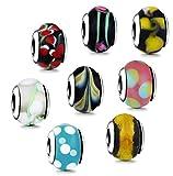 AKKi jewelry Charm Beads - Armband 8 stück Starter-Set aus Murano Glas Silber Farbe - Beads...