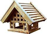 """Vogelhaus Vogelfutterhaus """"Bauernhaus"""" (41 x 51 x 46cm) im Fachwerk-Stil mit Lasergravur,..."""