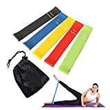 Aofwin 5Pcs Yoga-Widerstand-Bänder Gummi Fitnessgeräte Pilates Sport Sporttraining Workout...
