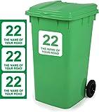 Aufkleber für Mülltonnen, magnetisch, personalisierbar, 18 x 18 cm, D1, 3 Stück