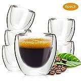 OAMCEG 6-teiliges Gläser-Set (Doppelwandig, isoliert, 0,08liters) transparent Domowin Espresso...