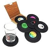 DIFLY Untersetzer, Vinyl, Retro-CD-Schallplatten-Motiv, für Kaffee, Getränke, Geschirr,...
