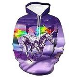 SWEYRT Comic Mechanisches Einhorn Pullover 3D Grafik Pullover Hoodie Sweatshirt Übergroße Winter...