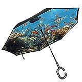 Umgekehrter Regenschirm der Ozean-Tier-# 12, großer Regen Sun Car Reversible Umbrella der doppelten...