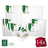 Artina FSC Keilrahmen 14er Set Akademie - 50x70, 30x40 cm, 24x30, 13x18 cm Leinwand Set - 100%...