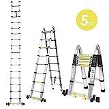 FIXKIT 5M Alu Teleskopleiter Klappleiter ausziehbare Leiter Teleskop-Design 150 kg Belastbarkeit mit...