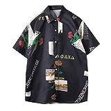 Seguire Herren Hawaiihemd Sommer Hemd Freizeit Kurzarmhemd Blumenprint Funky Funny Hawaiishirt...