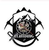 Samorou Bergsteigen Logo Wanduhr Wanderweg Eispickel Extremsportausrüstung Vinyl Rekord Wanduhr...