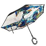 Big Stick Reverse Umbrella Inside Out Regenschirm 2-lagig Faltbarer, winddichter UV-Schutz,...