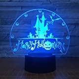 Tianyifengg 3D-LED-7 Farbe-Remote-Nachtlicht-Happy Vision Castle Bat Tischleuchte Home Decoration...