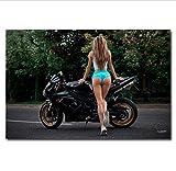DPFRY Leinwandbilder Wandkunst Bild Motorrad Sexy Frau Mit Superbike Sport Poster Print Leinwand...
