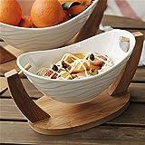 XZPENG Cradle Salatschüssel Obst Dessert Snack Schale mit Bambusholz Bracket Kreative...