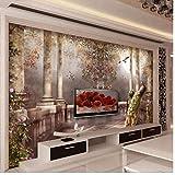 WANGZXC Wandbild Tapetenwand 3D Individuelle Tapeten Europäische Rosensäule Tv-Wand Vliestapete