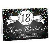 Groe Glckwunschkarte XXL (A4) zum 18. Geburtstag - Tafel-Look Konfetti/mit Umschlag/Edle Design...