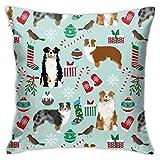 Marcia Abbot(t) Australischer Schäferhund Weihnachts-Kissenbezug, dekorativ, 45,7 x 45,7 cm,...