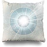 HTETRERW Throw Pillow Cover Flash Beige Retro Starburst Abstract Radio Circle Waves Vintage Blue 40S...