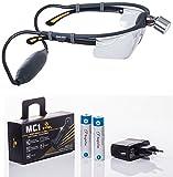 Simlight: Superhelle LED Profi Stirnlampe, incl. 2 Wechsel-Li-Ion-Akkus, Ladegert und Schutzbrille,...