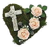 Radami Grabgesteck Grabschmuck Grabaufleger Moosherz Grabherz Kreuz oder Engel Trauerherz Grab Herz...
