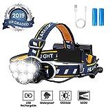 OUTERDO Stirnlampe superheller, Kopflampe 6 LED 12000LM 8 Modi, Stirnleuchte USB und 2xBatterien,...