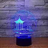 Antike Pavillon 3D Lampe Tischlampe 7 Farben Ändern Schreibtischlampe 3D Lampe Neuheit Led...