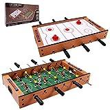 GOPLUS 2-In-1 Tischspiel Set, Mobiles Tischhockey- und Tischfußballspiel, Multifunktionstisch Mini...