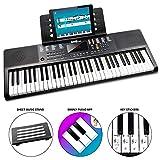 RockJam 61 Key Tastatur-Klavier mit Noten und Notenständern, Klavier Hinweis-Aufkleber, Netzteil...