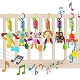 YIKANWEN Baby Kinderwagen Spielzeug , 6 Teile Plüschtier mit Glöckchen, Rassel-Figuren zum...